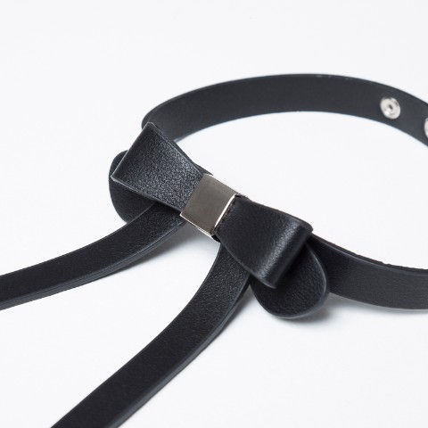 【CuLLt】 Ribbon Choker BLACK <Leather Collection>