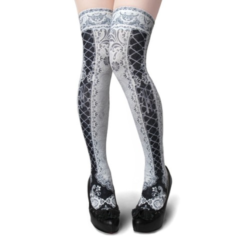 【abilletage】corset over knee socks Side Lace-up WHITE&BLACK
