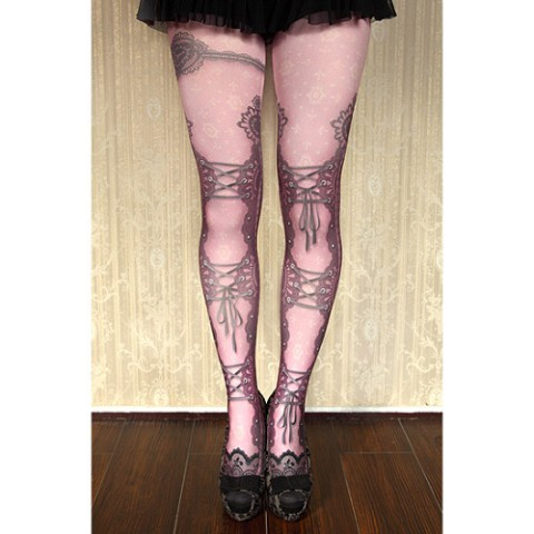 【abilletage】corset tights lace-smoky pink-