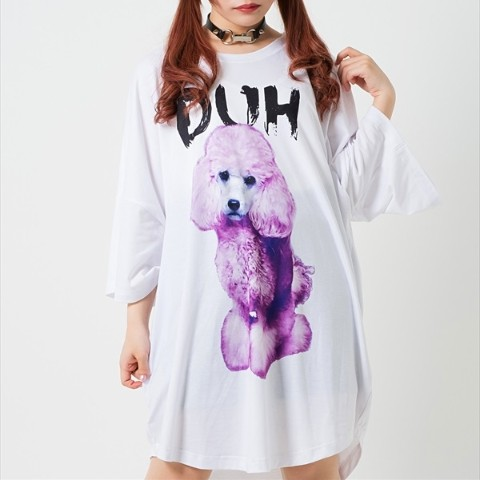 Ridicule Dog round hem BIG Tee 【White】