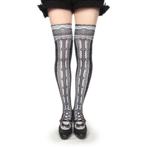 【abilletage】corset over knee socks -black-