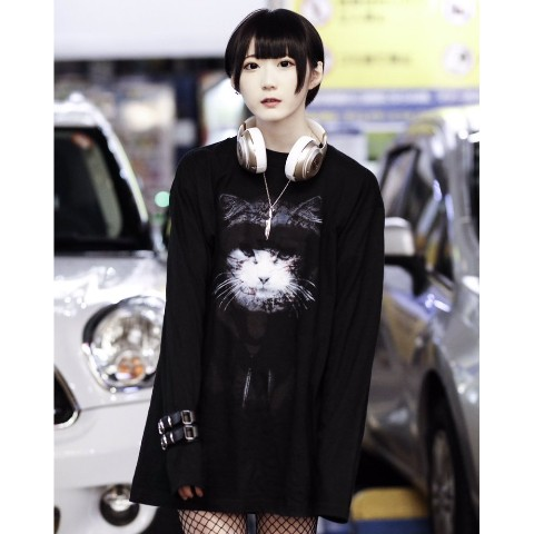 【acOlaSia】Murder Cat long tee(ブラック/XLサイズ)