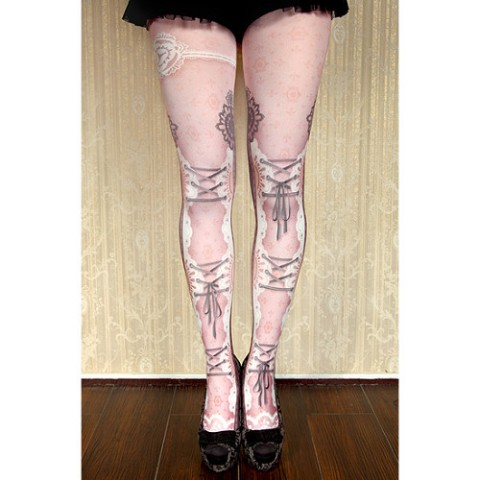 【abilletage】corset tights lace-dolly pink-
