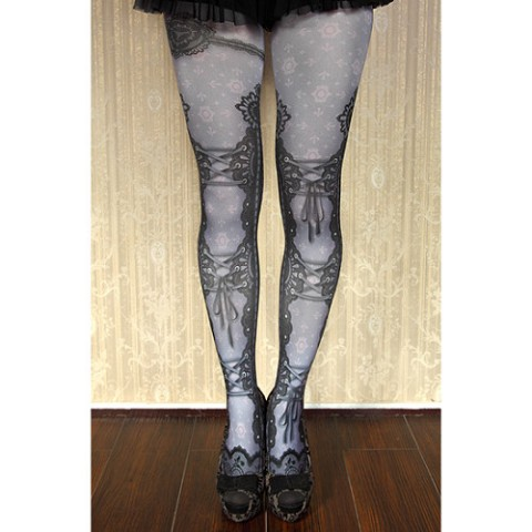 【abilletage】corset tights lace-grayish purple-