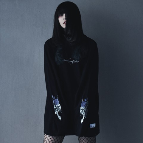 アマツカミ 蛇薔薇/Rose Snake  Long T-Shirts Black M