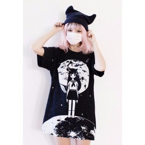 【OMOCAT】MOONGIRL T-Shirt (Lサイズ)