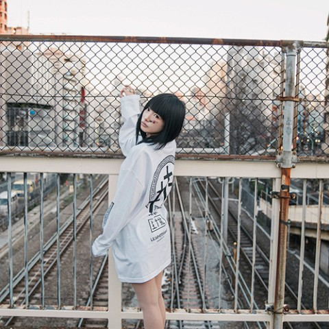 【LILWHITE(dot)】-SEI TO SHI- LONG SLEEVE TEE WHTxBLK(Lサイズ)