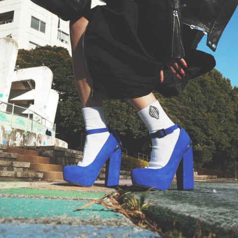 【VIVE VAGINA】Wappen Short Socks White/BlackLogo